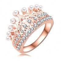 Wholesale Princess Crown Ring K Rose Gold Plate Made With Austrian Crystal Pearl Ball Luxury Elgent Women Ring Ri HQ0375