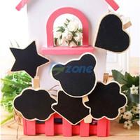 Wholesale Mini Cute Heart Star Clip Blackboards Chalkboards Wedding Decor Message Board