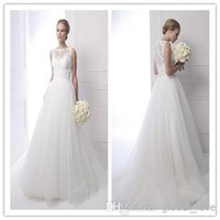 A-Line new york dresses - 2015 A line new york Wedding Dresses Jewel Sleeveless Applique Lace Sweep Brush Train Tulle And Satin Wedding Gowns