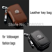 Wholesale New fashion pure color leather car key case holders bag for vw Volkswagen key wallet