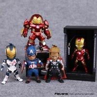 Wholesale Avengers Age of Ultron Iron Man Hulkbuster Thor Captain America PVC Action Figures with LED Light Gift Box set