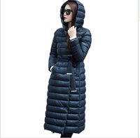 Wholesale 2015 New Winter Jacket Fashion Women Long Down Coat plus size S XL Black Green Red Parkas Mujer Ladies Hooded Warm Outerwear high quality