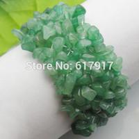 Precio de Chip stone bracelet-Joyería al por mayor-estiramiento de la manera de la armadura natural Chrysoprase piedra de gema granos de las virutas de la pulsera del encanto de 7
