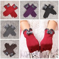 Finger Gloves driving gloves - AAAA Quality New colors Winter Fashionable Women screen touch driving Gloves Women bowknot winter gloves LJJD309 paris