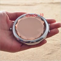Wholesale 100 BBA5629 cm Mini Crystal mirror Cosmetic Compact Mirror Crystal Magnifying Make Up Mirror Guest Wedding Gift folding metal pocket mirror
