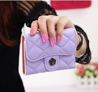 Wholesale Candy Color Triple Folding Leather Wallet Fashion Short Hasp Clutches Purses For Girls Delicate Diamond Plaid Card Wallets Women Money Bags