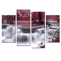 Cheap 4 Piece Mangrove With Waterfall Modern Home Wall Decor Canvas Picture Art HD Print Painting Set of 4 Each Canvas Arts Unframed