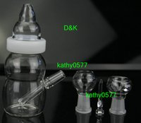 mini glass bottle - 2014 New baby bottle mini glass bong two founction glass water pipe mm joint