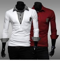 Wholesale Hot Sale fashion embroidery Men s t shirt Joining together Long sleeve Cultivate one s morality grid Shirt collar Fake two piece POLO shirt