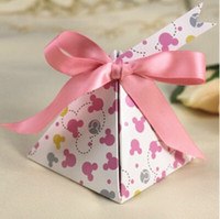 Wholesale 100 European style pink Pearl paper triangle pyramid Wedding boxs Candy Box gift boxs wedding baby birthday favour boxes
