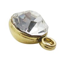 antique gold findings - Antique Gold Plated Alloy April Clear Color Crystal DIY Finding Charms AAC733 G