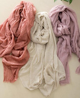 art silk scarf - New solid color cotton scarves large fringed bag Fan art large silk shawl scarves sunscreen
