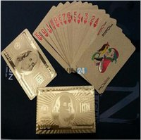 Wholesale New Gold K Karat Golden Foil Plated Poker Playing Cards Game US Dollor Collection Hot Selling
