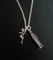 ben necklace - 12pcs Peter Pan Inspired Necklace Big Ben and Tinkerbell Charm Necklace in silver