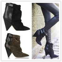 ankle booties for women - Andrew Boots Ankle Suede Leather Women Boots Impera Marant Autumn Boots Wedged Boots Shoes Woman Booties For Women Shoes