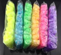 al por mayor pulseras del arco iris-Pulseras de goma del arco iris del kit del telar de las vendas fluorescentes coloridas de alta calidad DIY 600pcs / lot con 24pcs S / C Clips liberan el envío