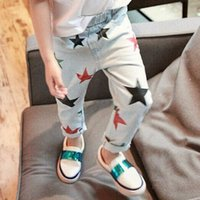 Wholesale 2016 Spring Baby girl Vintage Print Star Denim Jeans Kids Girls Casual Pants Girls Long Trousers Children s Clothes SDB923