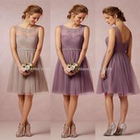 Halter adult pink princess dress - 2016 Cheap Bridesmaid Dresses A Line Sheer Jewel Neck V Cut Zipper Back Chiffon Knee Length Summer Cocktail Party Dresses BO9402