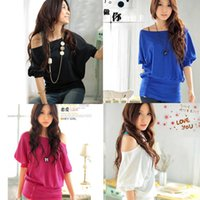 band tunic - Women Colorful Sexy Boat Neck Batwing Band Tops Tunic Loose Boho Half Sleeve Tee Shirt Eve Club Casual Long Blouses