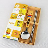 Wholesale Christmas New Year s Day Gift Dinnerware Sets Promotional Gift Cute Cartoon Spoon Chopstick Pieces Tableware M1804