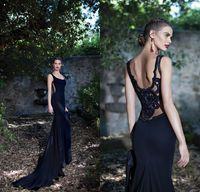 Cheap Tarik Ediz 2015 Black Chiffon Mermaid Backless Prom Dresses Scoop neckline Sleeveless Lace Beads Evening Dresses Party Evening Top Quality