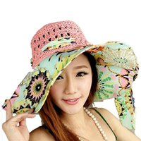 Wholesale Stylish Summer Floppy Anti UV Sun Hats For Women Foldable Floppy Sun Cap Wide Brim Hat Beach Headwear for lady
