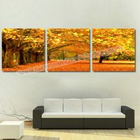 canvas prints wall painting - Piece Canvas Art Hot Sell Yellow Tree Modern Home Wall Decor Canvas Art HD Print Painting Set Wall Pictures