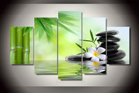 bamboo poster frame - 5 Piece Framed Printed Bamboo Orchid Painting on canvas room decoration print poster picture canvas wuhaisu gallery painting