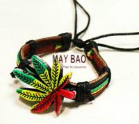 chain stainless steel - weed leaf bracelets Reggae Rasta Stripe wrist Band Bracelet Wrist Bracelet Bob Marley Jamaica pot bracelet pc