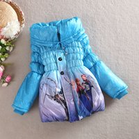 Wholesale Hot New Arrival Winter Frozen Children s Down Coat Thickening Jirong Girl Long Cotton Padded Clothes Kids Down Jackets Outwear Fit Age