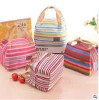 Wholesale 100pcs LJJC31545 High Quality Fashion Stripe Travel Lunch Bag Picnic Contain Cooler Insulate Thermal Waterproof Organizer Dinnerware Handbag