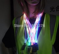 Wholesale DHL LED plastic strap flashing neck strap lanyard optical fiber necklace multi funtions flat shape