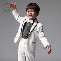 Two-piece Suit kids tuxedo - 2016 Custom Made Boy Tuxedos Peak Satin Collar Children Suit Black Kid Wedding Prom Suits Jacket Pants A1