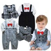 baby tuxedo romper - Popular New Arriver baby boy suit vest baby romper with bowknot Wedding Special Occasion Christening Tuxedo Formal clothes