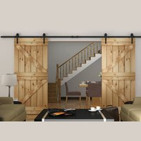 antique wooden arrows - Arrow Stylish Antique Black Wooden Double Sliding Barn Closet Door Heavy Duty Modern Wood Hardware Interior American Style Track Kit