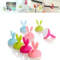Wholesale New Cute Cartoon Animal xRabbit Cable Wire Drop Clip Desk Tidy Earphone Winder Organizer USB Charger Holder Wire Cord Lead