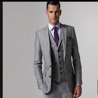 best custom windows - Dress wedding custom wedding best man suit light grey triangle window man suit of the groom coat pants belt