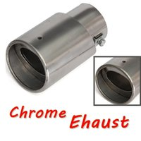 Wholesale 2015 New Stainless Steel Chrome Round slanted Tip Exhaust Muffer Pipe for Universal Cars order lt no track