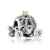 14k gold - Silver Charms Pendants ale Authentic Silver Beads Cinderella Pumpkin Car Charms With k Gold and Czs For Pandora Diy Bracelets CE520