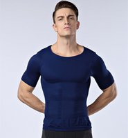 belly slimming tea - Male Chest Compression T Shirt Gym Sport Hero Belly Buster Slimming Tea Posture Tummy Body Shaper For Men Corsetry Black White