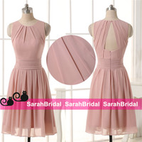 backyard party lights - 2016 Boho Chic Short Blush Chiffon Bridesmaid Dresses with Open Back for Sale Garden Backyard Cheap Bridal Party Gowns Maid of Honor Wear