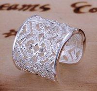Lo nuevo de los anillos con incrustaciones de circón Multi Anillo Corazón Anillo de plata 925 Moda WomenMen de plata regalo de la joyería de dedo 24PCS envío gratuito