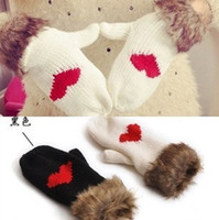 Wholesale 2Pairs Love Heart Gloves Mittens Lovely Women Winter Thick Warm Fur Fashion Wool Gloves