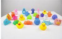 Wholesale New EMS Free Baby Bath Toys Water Floating Dolls Children Swiming Beach Animal Cartoon Yellow Ducks Starfish Rubber Toy Kids Gifts