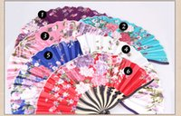 Wholesale Custom Made Chinese Style Vintage Handmade Hand Fan With Colorful Flowers Classic Wedding Fan For Bridal High Quality Keel fan Cheap