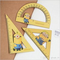 Wholesale 500 TOPB4599 kids minions triangle cartoon ruler Fashion hollow wooden ruler despicable me ruler learning stationery Supplies christmas gift