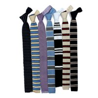 Wholesale High Quality Fashion Colourful Classics Tie Knit Necktie Weave Flat Type For Men Flat Type Tie American Leisure Style