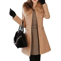 Wholesale S5Q Womens Wool Blends Overcoat Fur Colar Coat Slim Fit Trench Double Breasted Winter Long Section Jacket Parka AAAECY