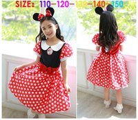 Wholesale 2015 New Big Girls Bowknot Cartoon Minnie Mouse Dots Tutu Children Princess Dresses Kids Party Dress headdress Baby Clothing GD26