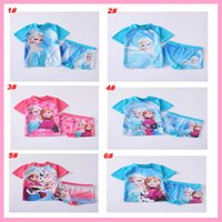 bathing day - 6 New design ice and snow Elsa Anna SUV sun protection swimwear girls sun safe togs bather t shirt shorts sets bathing Surf costume